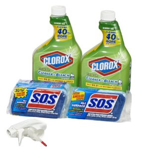 $8.12 Clorox Clean-Up Bleach Cleaner Spray and S.O.S All Surface Scrubber Sponge Value Pack, 32 OZ Bottles (2 Count) + Sponges(4 Count)