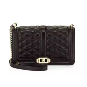 Rebecca Minkoff Love Quilted Leather Crossbody Bag, Black