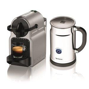 $79.99 Nespresso Inissia Espresso Maker with Aeroccino Plus Milk Frother, Silver