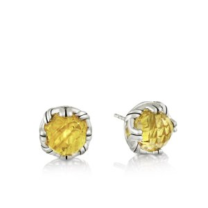 Fantasies Citrine Stud Earrings in sterling silver