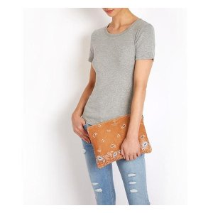 Luxury leather oversized clutch bag light tan bandana print
