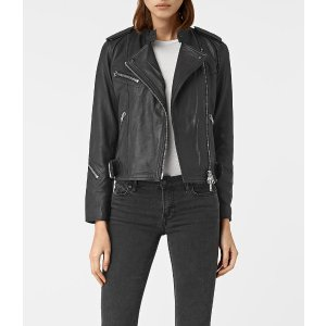 ALLSAINTS US: Womens Atkinson Leather Biker Jacket (Black)