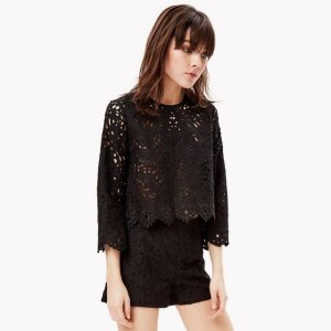 Theory Linen Cotton Eyelet Top