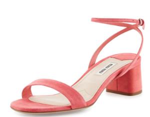 Miu Miu Suede 45mm Ankle-Wrap Sandal, Geranio @ Neiman Marcus