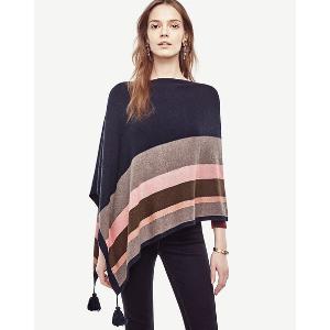 Striped Tassel Poncho | Ann Taylor