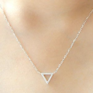 $49.99 Sterling Silver with White Diamond Triangle Cut Out Pendant Necklace (1/10cttw, I-J Color, I2-I3 Clarity)