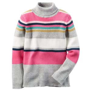 Baby Girl Striped Turtleneck Sweater | Carters.com