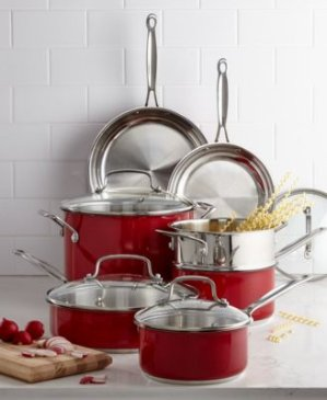 $104.99+Free 3-Pc. Bakeware Set Cuisinart Chef's Classic Stainless Steel Metallic Red 11 Piece Cookware Set
