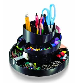 $9.74 Officemate Deluxe Rotary Organizer, 16 Compartments, Recycled, Black (26255)