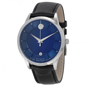 Movado 1881 Automatic Blue Dial Black Leather Band Men's Watch 0606874 - 1881 - Movado - Watches - Jomashop