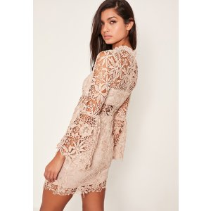 Nude Long Sleeve Lace Bodycon Dress