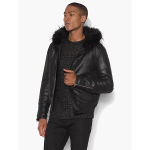 Leather Hooded Bomber - John Varvatos