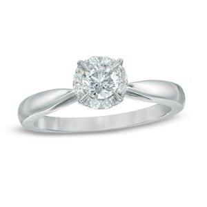 3/8 CT. T.W. Diamond Frame Engagement Ring in 14K White Gold