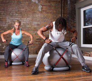 Lightning DealSuperior Fitness 600 lb Exercise / Yoga / Stability Ball With Heavy Duty Gym Quality Resistance Bands & Pump
