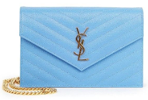 $892.5(org. $1275) 30% Off Saint Laurent Monogram Small Grained Matelasse Leather Chain Wallet Sale @ Saks Fifth Avenue