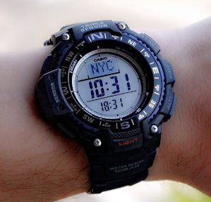 Casio Men's Triple Sensor Digital Display Quartz Black Watch