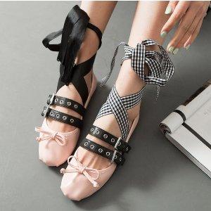 Miu Miu Double Strap Leather Lace-Up Ballet Flats