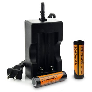 ThorFire 2pcs 18650 Battery and Charger for LED Flashlights