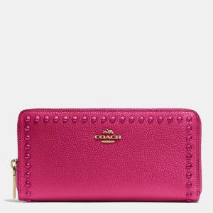 ACCORDION zip wallet in lacquer rivets pebble leather by Coach | Spring - Free Shipping. On Everything