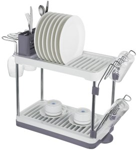Surpahs 2-Tier Compact Dish Drying Rack (Gray Color)
