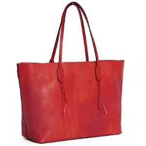 Scalloped-Edge Leather Tote @ Ralph Lauren