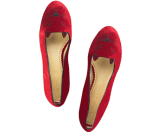 Charlotte Olympia Kitty Flats Red/Black Velvet/Patent - 6pm.com