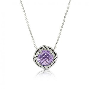 Ribbon & Reed Fantasies Lavender Amethyst Necklace in sterling silver