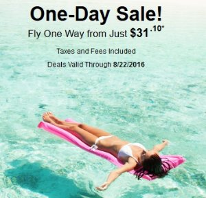 One way from $31.10Hurry! Flight One Day Sale @ Onetravel