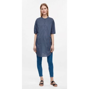 SHIRT DRESS WITH GRANDAD COLLAR