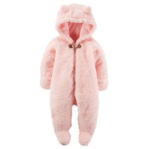 Baby Girl Hooded Sherpa Bunting | Carters.com