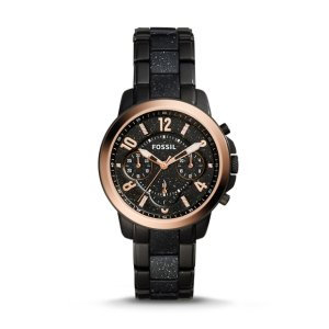 Gwynn Chronograph Black Stainless Steel and Glitter Acetate Watch