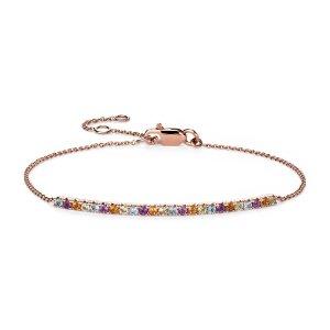 Multi-Gemstone Delicate Bar Bracelet in 14k Rose Gold (1.5mm) | Blue Nile