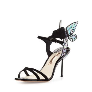 Sophia Webster Chiara Butterfly Wing Ankle-Wrap Sandal, Black Iridescent