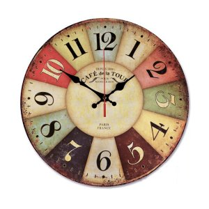 NALAKUVARA Vintage Colorful 12-Inches Wood Wall Clock