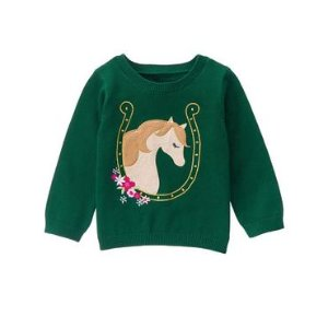 Toddler Girls Pine Green Pony Sweater by Gymboree