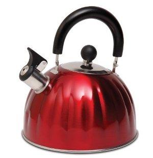 Mr Coffee Twining Pumpkin Shaped Tea Kettle, 2.1 quart, Metallic Red