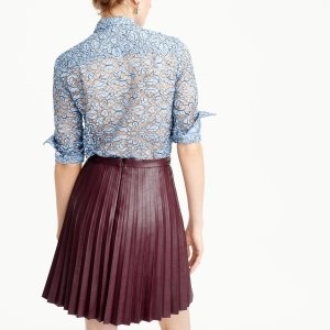 Faux-Leather Pleated Mini Skirt : Women's Skirts | J.Crew