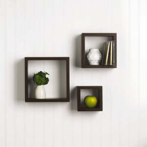 MELANNCO 5003626 Square Shelves, Set of 3, Espresso