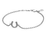 PANDORA Symbol of Luck Silver CZ Horseshoe Bracelet