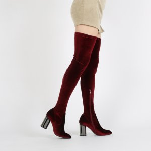 Ellis Mirrored Heel Long Boots in Bordeaux Velvet | Public Desire