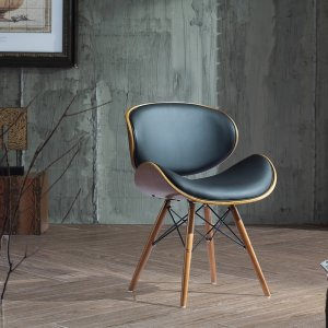 Corvus Madonna Mid-century Black Bonded Leather Walnut Finished Accent Chair - Free Shipping Today - Overstock.com - 17792928