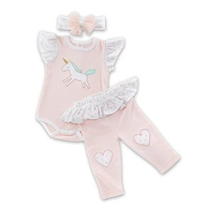 Amazon.com : Baby Aspen Simply Enchanted 3-Piece Outfit, White/Pink/Gold/Mint : Baby