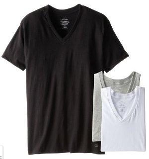 Calvin Klein Men's 3 Pack Cotton Classic Short Sleeve V-Neck T-Shirt