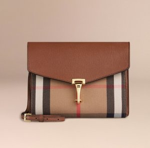 As Low As $600.6Burberry House Check Leather Small Macken Crossbody