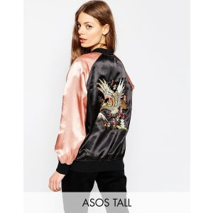ASOS TALL Premium Bomber Jacket with Floral Embroidery