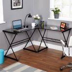 $59 Atrium Metal and Glass L-shaped Computer Desk, Multiple Colors