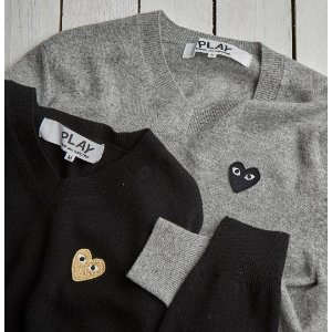 Comme des Garcons Play Small Emblem V-Neck Sweater
