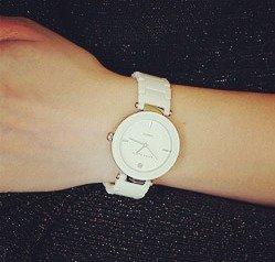 Anne Klein Women's AK/1019WTWT Diamond-Accented Watch with Ceramic Bracelet