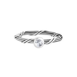 Ribbon and Reed Signature Romance White Sapphire Ring in sterling silver