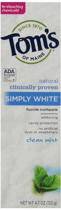 $9.63 Prime Member Only! Tom's of Maine Simply White Natural Toothpaste, Clean Mint , 4.7 Ounce(Pack of 6)